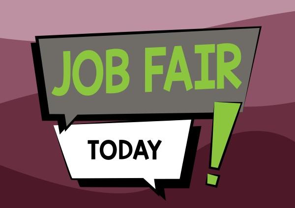 text sign showing job fair business