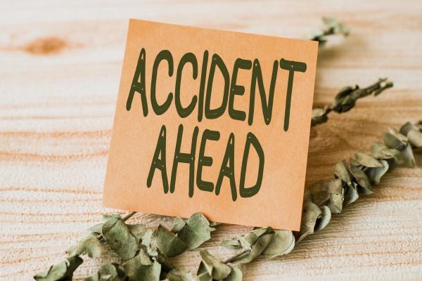 conceptual caption accident ahead business approach