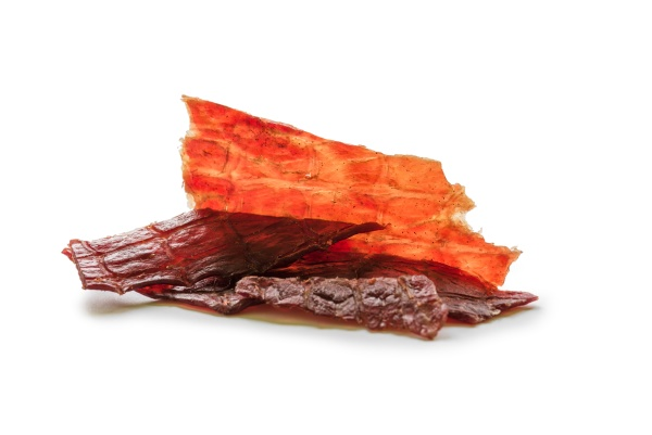 beef jerky isolated on a white