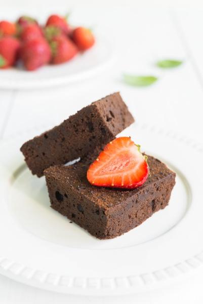 chocolate brownie cake on white plate