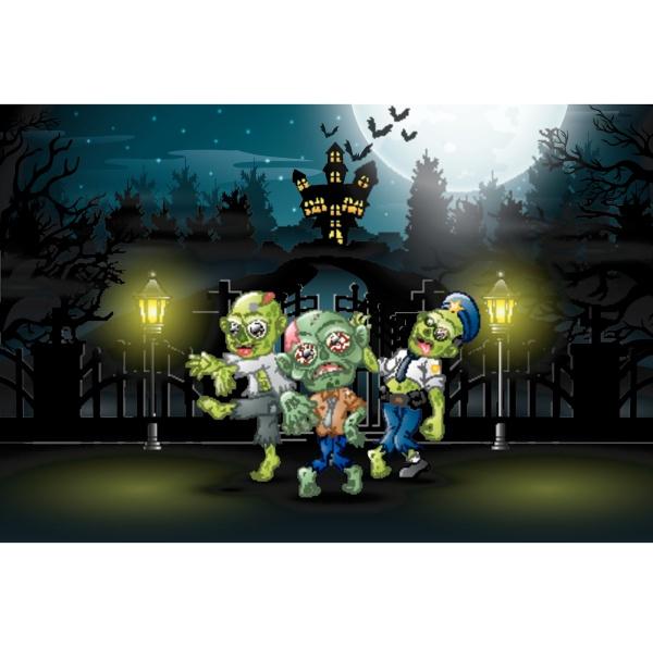 happy zombie celebrate halloween party outdoors