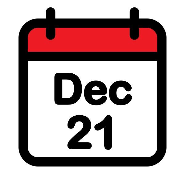 twenty first december calendar icon