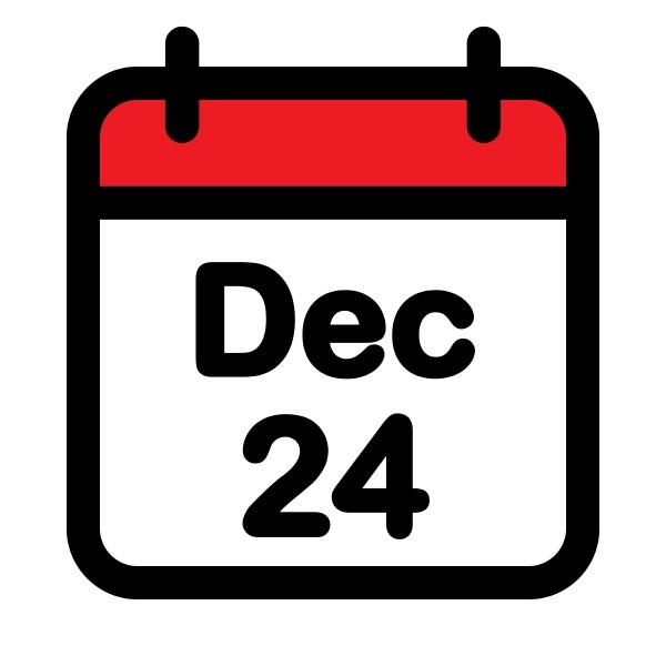 twenty fourth december calendar icon