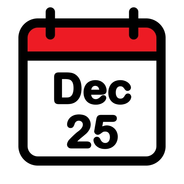 twenty fifth december calendar icon