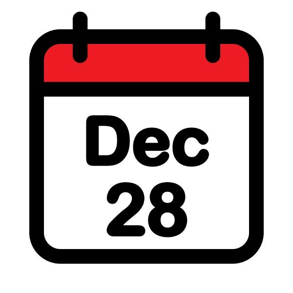 twenty eighth december calendar icon