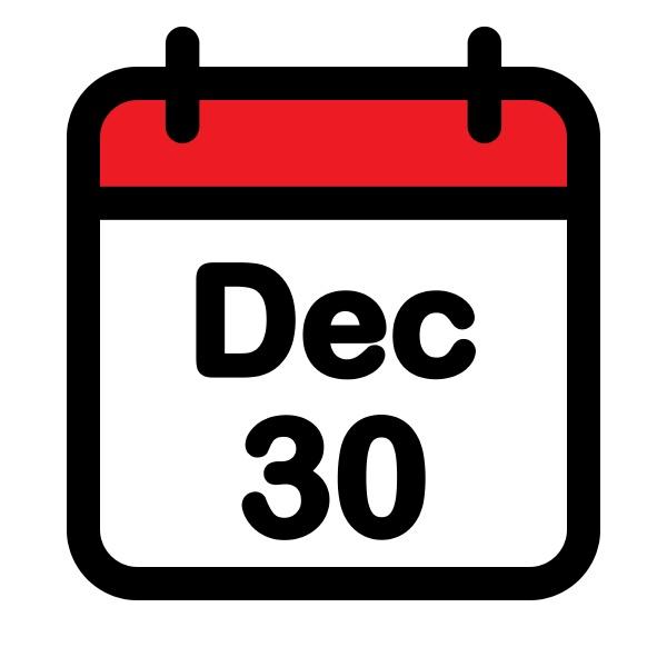 thirtieth december calendar icon