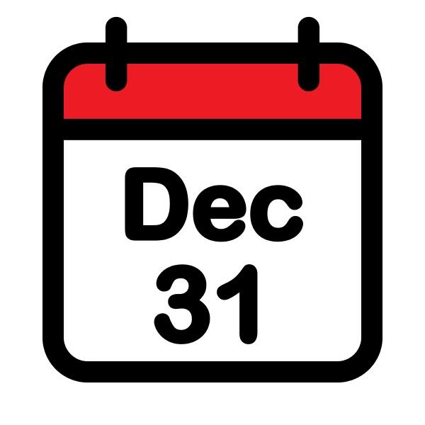 thirty first december calendar icon