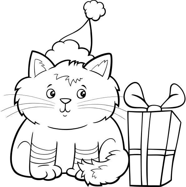 cartoon kitten on christmas time coloring