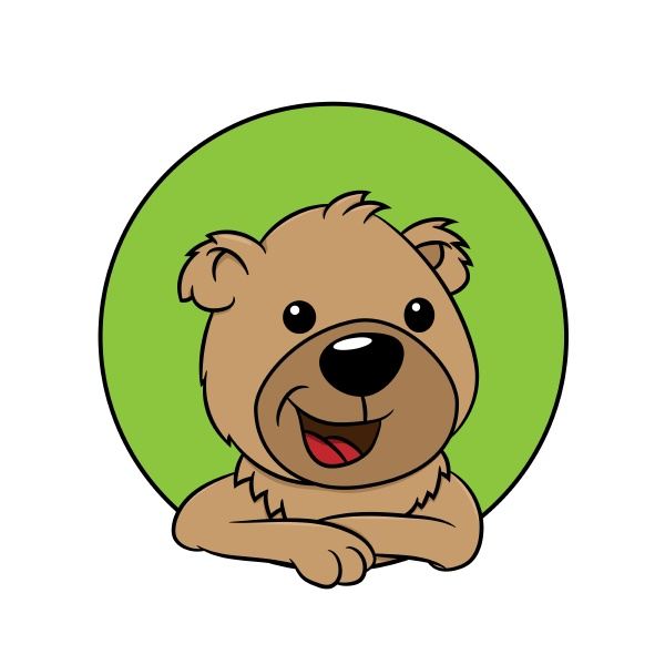 cute bear leans out of a