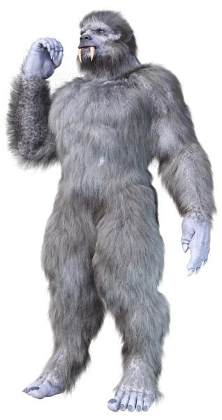 3d rendering snow beast on white