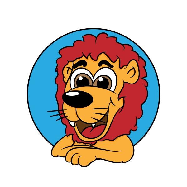cute lion leans out of a