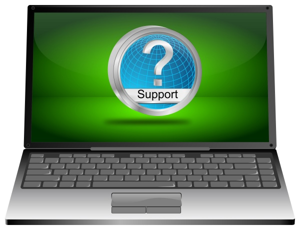 laptop computer with blue support button