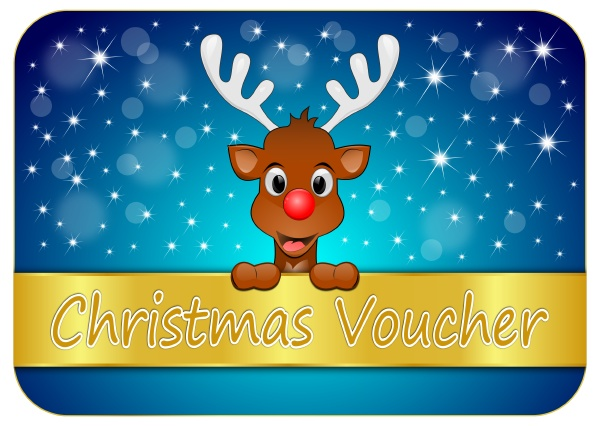 christmas voucher with reindeer blue
