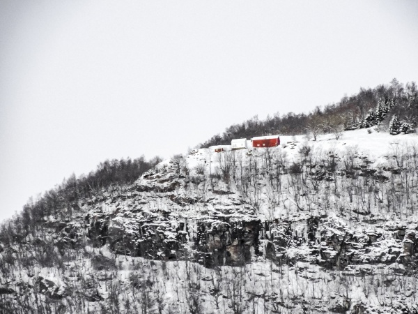 lonely red house on the mountain