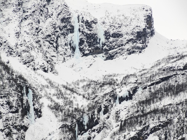 frozen waterfall and icicles beautiful landscape