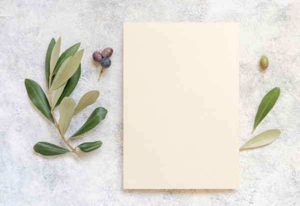 blank card on marble table with