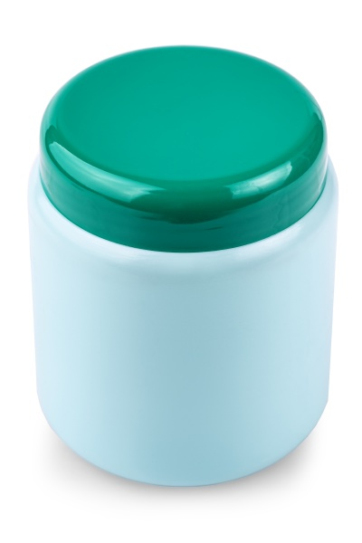 green jar with cosmetics isolated