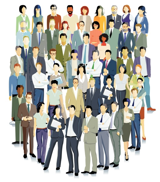 business people standing together illustration