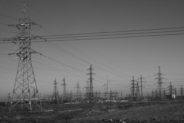 power line posts high voltage tower