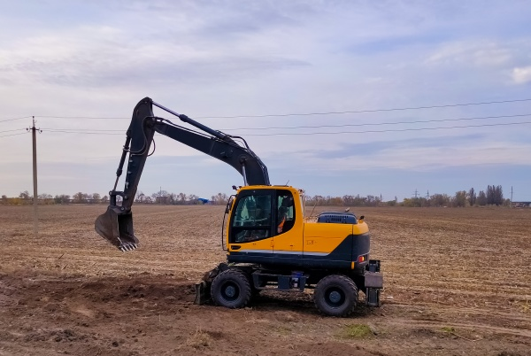 excavator parked at the construction area