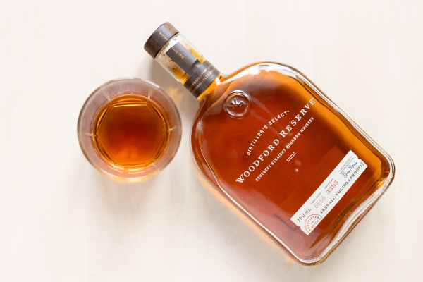 glass with woodford reserve bourbon whiskey