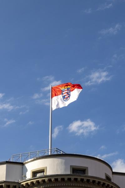 flag of hesse under blue sky