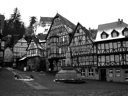 historical city town winter old town