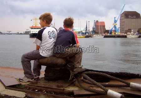 two guys in the harbor