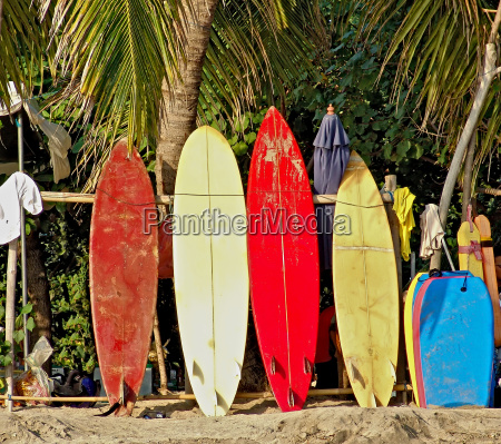 surfboards on the beach of bali