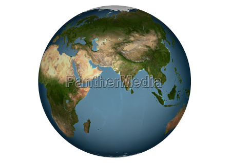 blue marble asia without clouds