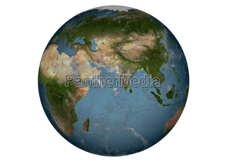 blue marble asia with clouds