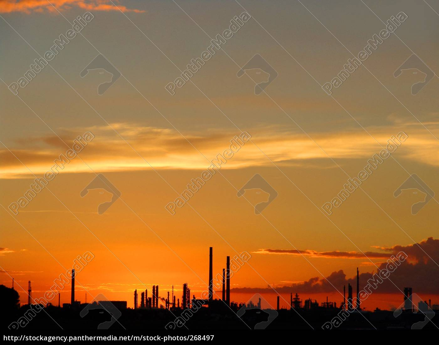 sun, sets, behind, industrial, plant - 268497