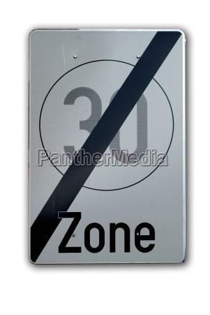 sign 30 kph zone border