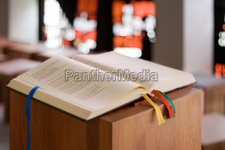 bible on a lectern