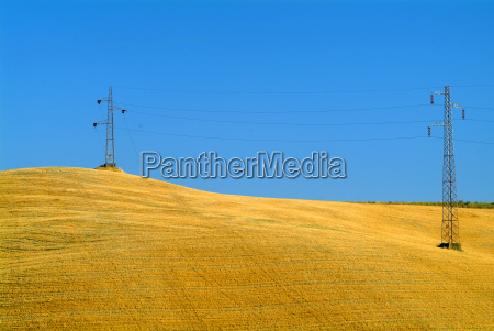 electricity pylons at the wheat field
