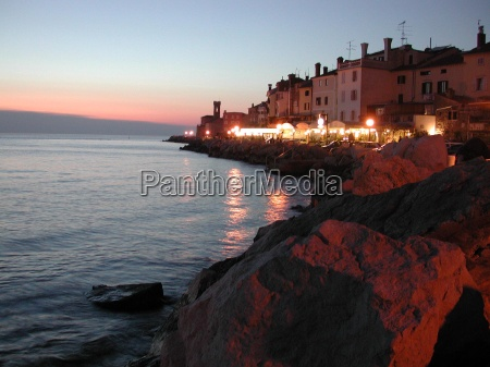 piran in the evening