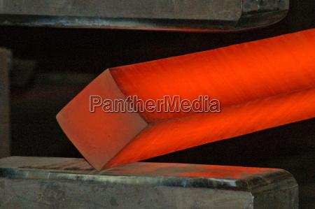 of heated steel rod