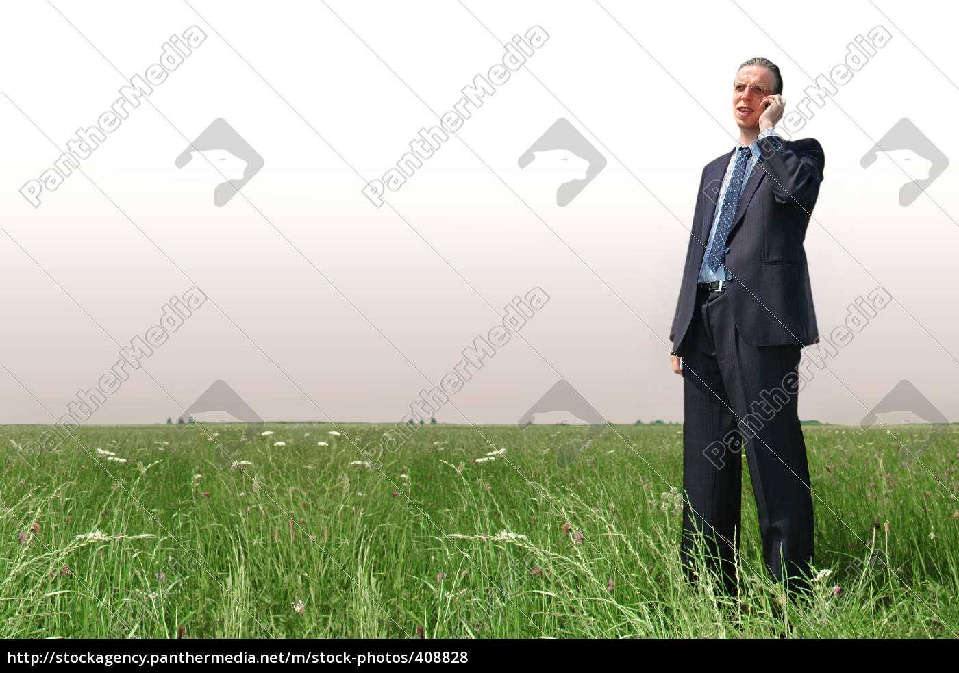 telephony, render, businessman, on, meadow - 408828