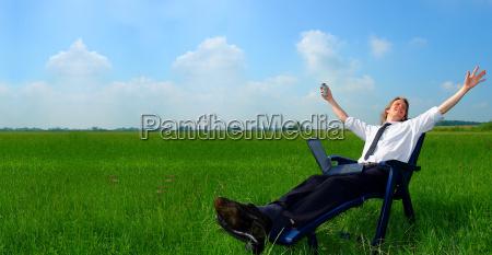 businessman, in, deckchair - 434441