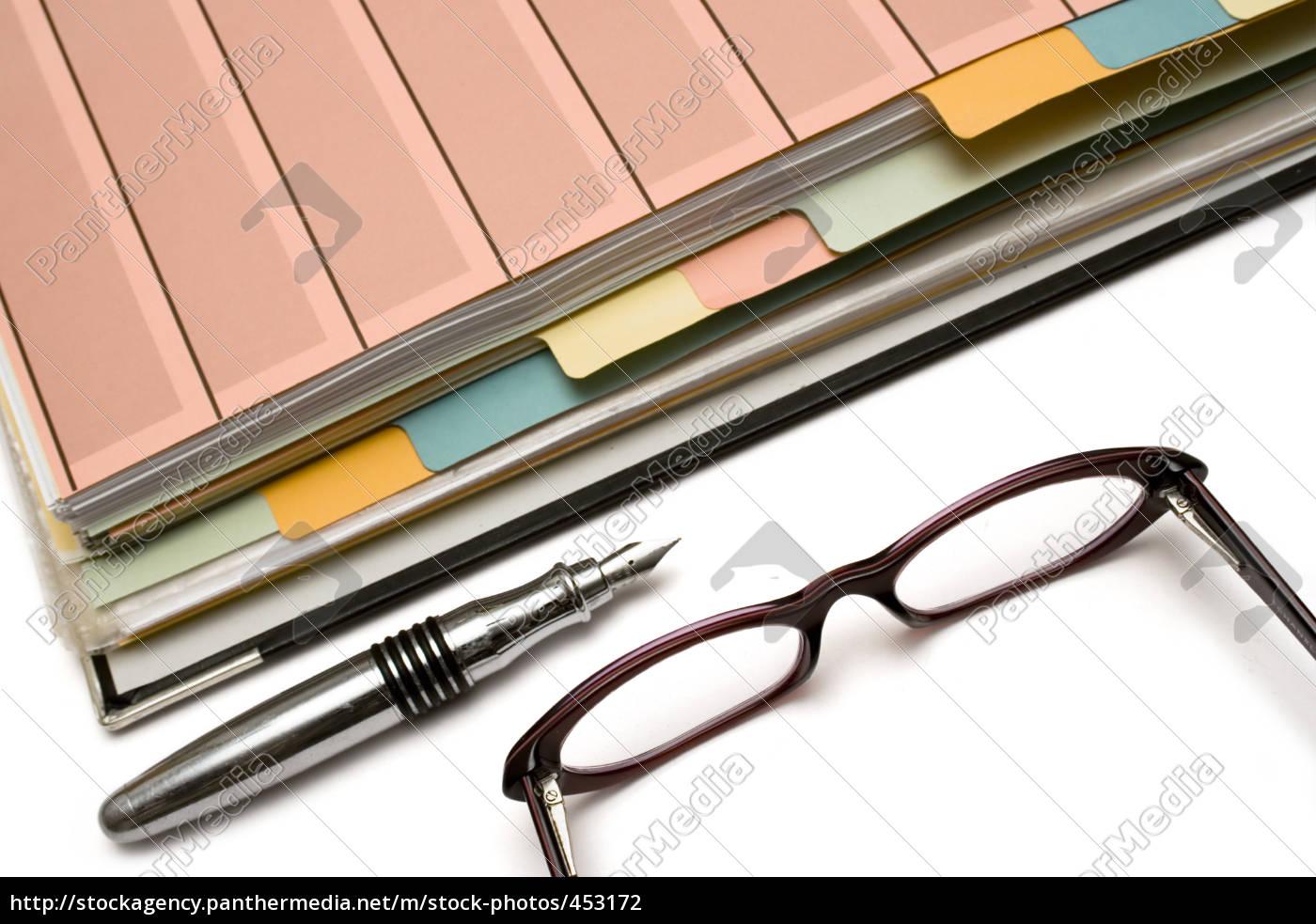 folder, pen, and, glasses - 453172