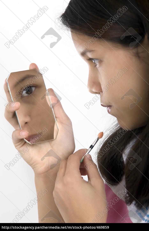 girl, applying, makeup - 469859