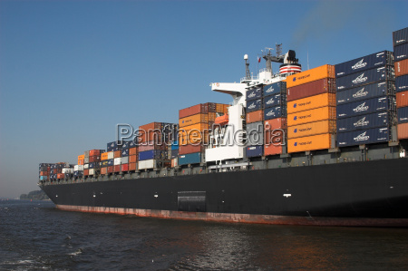 container ship on the elbe