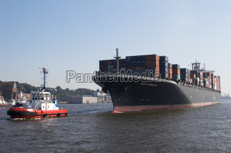 container, ship, in, tow - 473345