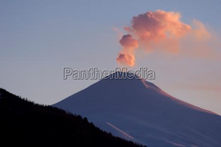 volcano, villarica, sunset - 486207
