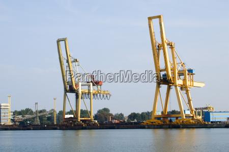 harbor cranes at the swiene