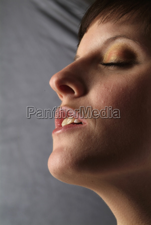 woman lady mouth strong face portrait