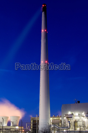 industrial, chimney, at, night - 546717