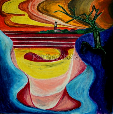 expressionistic lighthouse