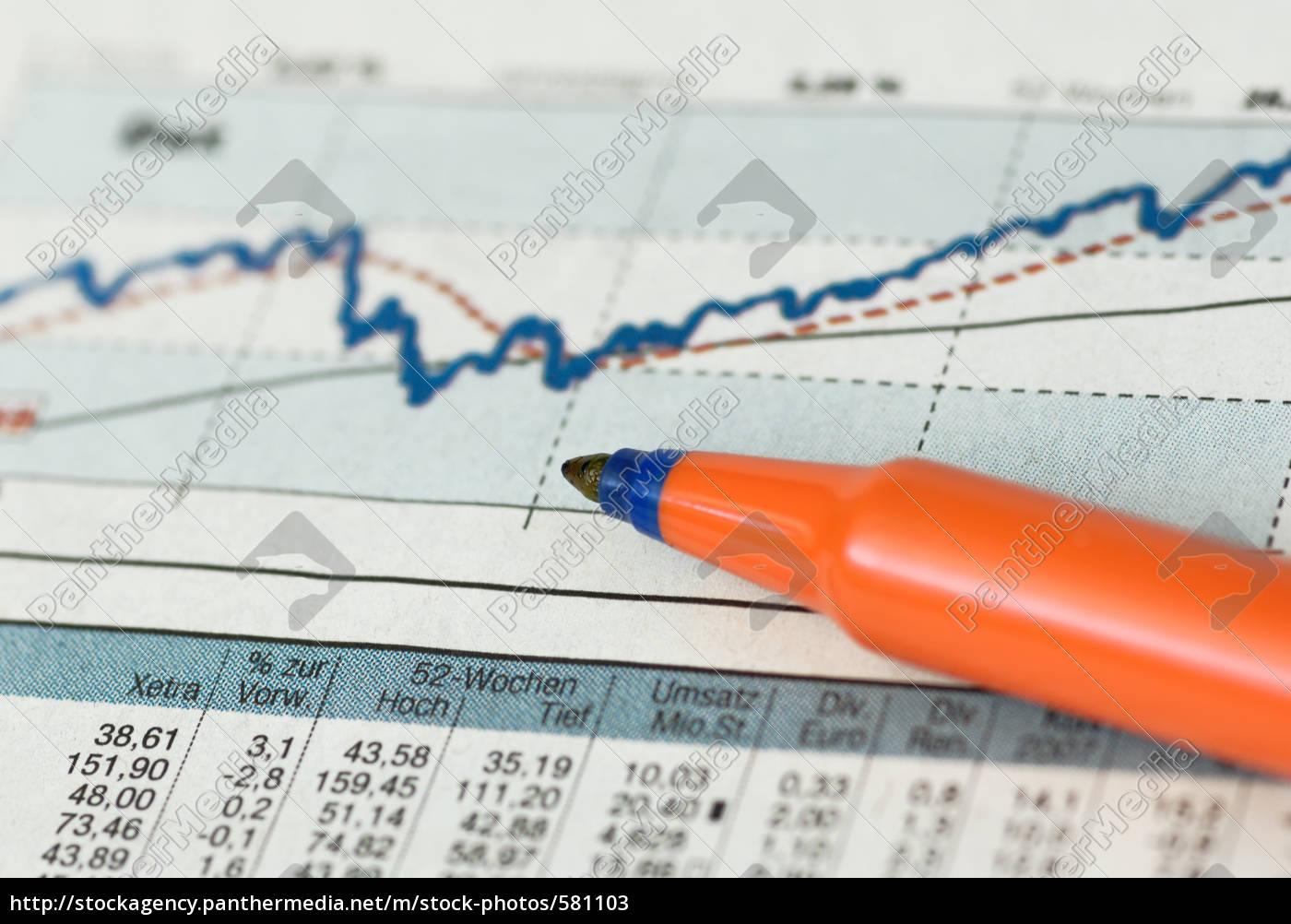 price, chart, with, pen, orange, - 581103