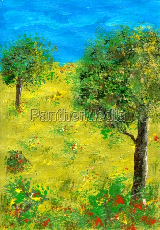 acrylics, trees, on, meadow - 588927